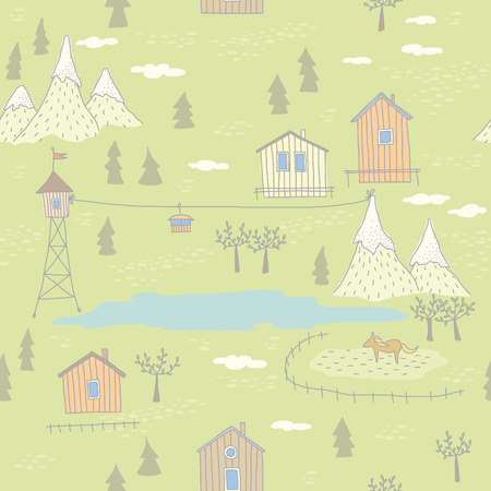 Seamless pattern with houses, mountans and lake  EPS 10  No transparency  No gradients  Vector