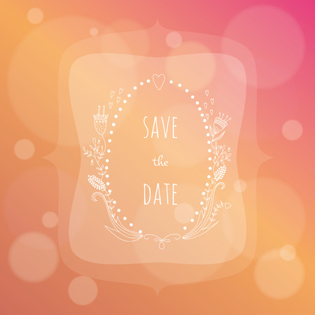 Hand drawn wedding invitation on colorful background  EPS 10  Transparency  Gradients  Vector