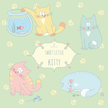 Sweet hand drawn greeting card with a cute playing kitty  EPS 10  No gradients  No transparency  Vector