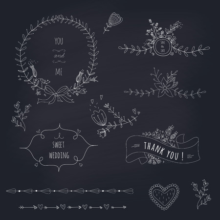 Hand drawn set of wedding wreath, ribbons and flowers on a blackboard  EPS 10  Transparency  No gradients