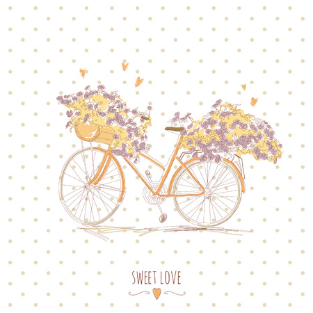 Cute vintage postcard with a bike and flowers  EPS 10  No transparency  No gradients  Vector