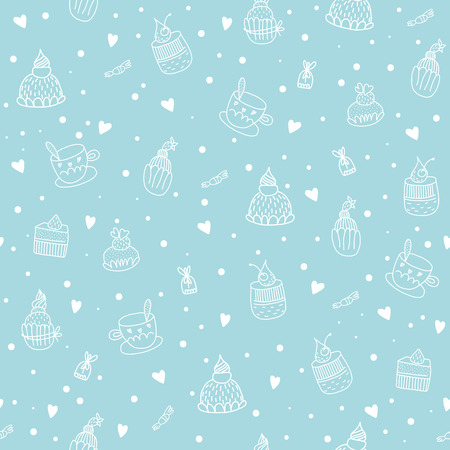 Seamless pattern with cupcakes, teacups, chocolates and hearts  EPS 10  No transparency  No gradients  Vector
