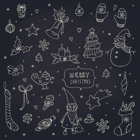 Set of doodle Christmas decorations on a chalkboard  EPS 10  Transparency  No gradients  Vector