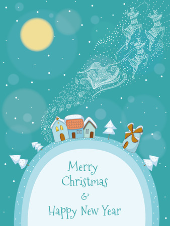 Christmas illustration of Santa and his reindeer flying above a snowy village  EPS 10  Transparency  Gradients  Feather  Vector