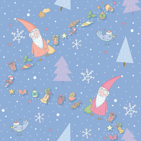 Seamless pattern with Santa Claus and gifts  EPS 10  No transparency  No gradients  Vector