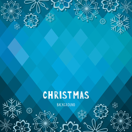 Christmas and New Year rhombus background with snowflakes  EPS 10  Transparency  No gradients  Vector