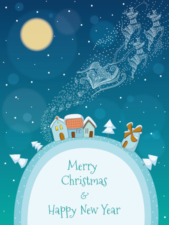 Christmas illustration of Santa and his reindeer flying above a snowy village  EPS 10  Transparency  Gradients  Vector