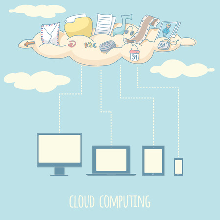 Cloud computing  EPS 10  No transparency  No gradients  Vector