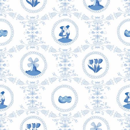 Delfts blauwe naadloze patroon EPS-10 Geen transparantie Geen verlopen