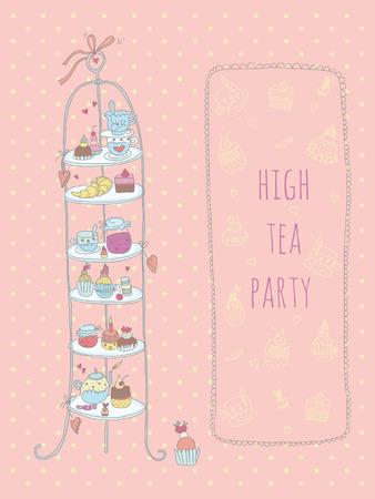 Doodle High Tea Party-Einladung EPS-10 Keine Transparenz keine Steigungen