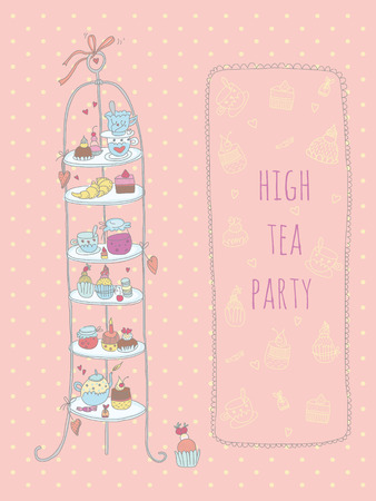 Doodle high tea party invitation  EPS 10  No transparency  No gradients  Vector