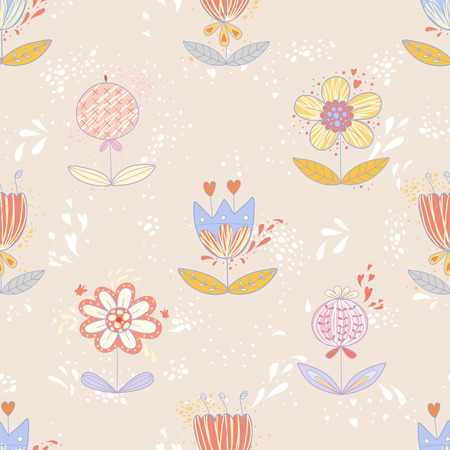 Cute seamless pattern with colorful flowers  EPS 10  No transparency  No gradients  Vector