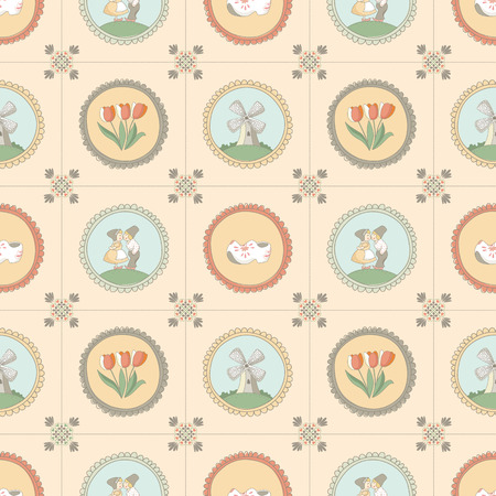 dutch tiles: Seamless tiles pattern with Dutch traditional elements  EPS 10  No transparency  No gradients