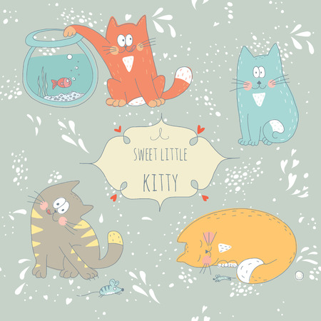 Hand drawn greeting card with little sweet kitties  No transparency  No gradients  Vector