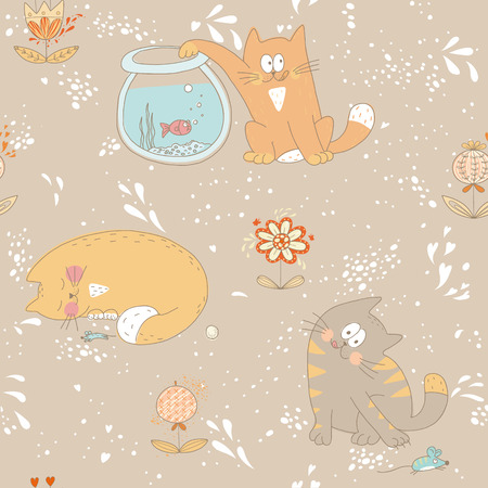 Hand drawn seamless pattern with little sweet kitties and flowers  EPS 10  No transparency  No gradients  Vector