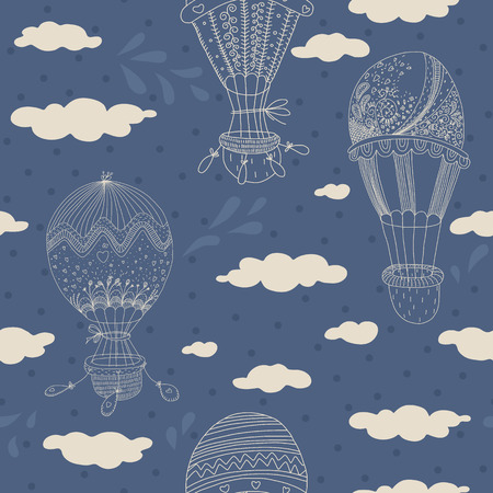 Seamless pattern with sweet hand drawn balloons   No transparency  No gradients  Vector