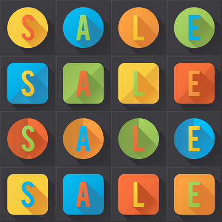 Sale  colorful flat icons collection  No transparency  Gradients  Vector