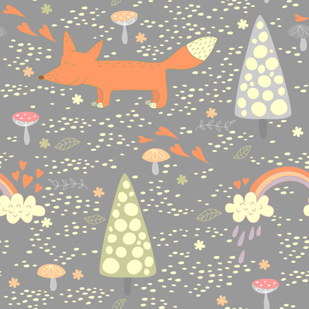 Funny seamless pattern with a cute little fox   No transparency  No gradients  Vector