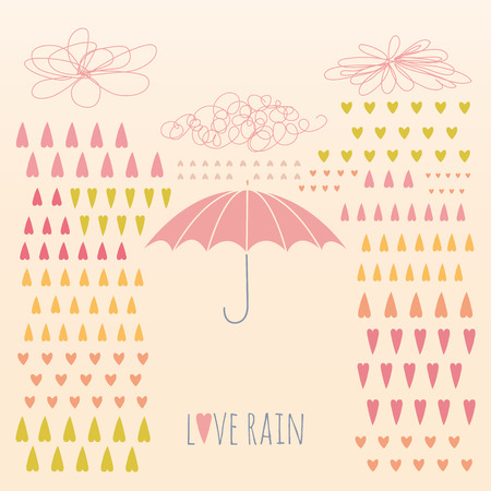 Doodle rain background with colorful heart-shaped rain drops and umbrella  No transparency  Gradient  Vector