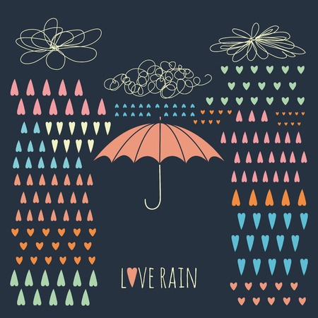 Doodle rain background with colorful heart-shaped rain drops and umbrella No transparency  No gradients  Vector