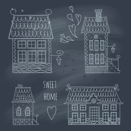 Hand drawn set of cute retro houses on blackboard Vector