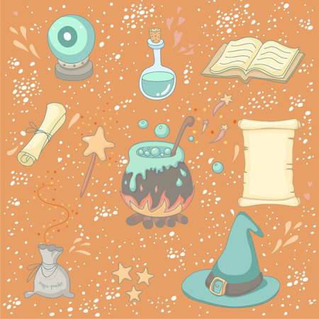 Magic set with a wizard, magic book, magic powder, magic wand, crystal ball, poison, scroll, wizard hat and a cauldron Vector