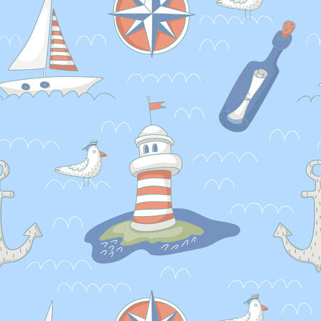 Nautical seamless pattern with a lighthouse, windrose, message bottle, yacht and anchor.  No transparency. No gradients.