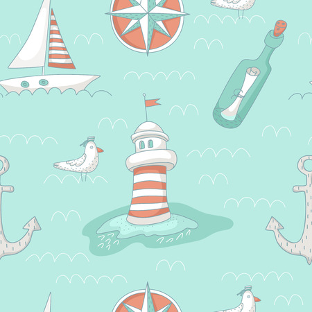 message bottle: Nautical seamless pattern with a lighthouse, windrose, message bottle, yacht and anchor. EPS 10. No transparency. No gradients.