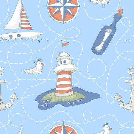 Nautical seamless pattern with a lighthouse, windrose, message bottle, yacht and anchor. No transparency. No gradients. Vector