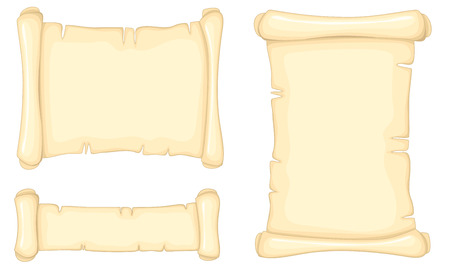 papyrus: Set of old paper scrolls isolated on white background.  No transparency. No gradients. Illustration