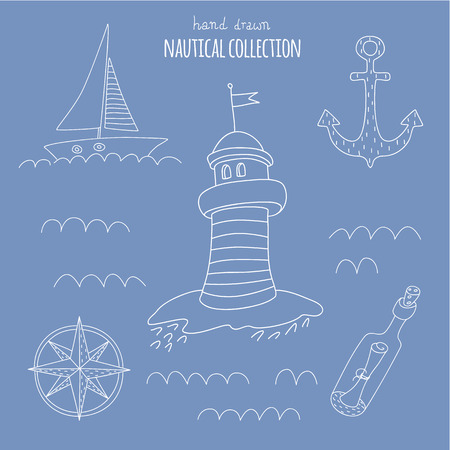 Nautical hand drawn set.  No transparency. No gradients. Vector