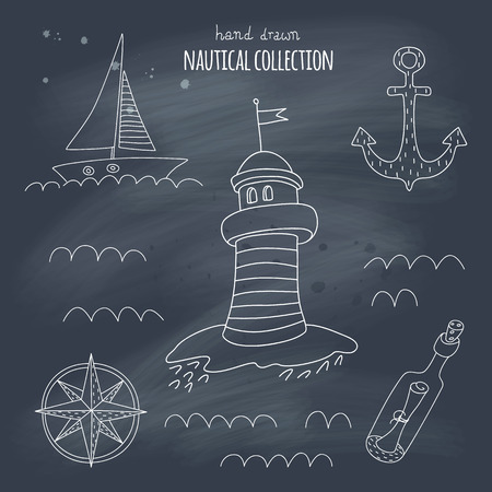 Nautical hand drawn set on a blackboard. EPS 10. No gradients. Transparency. Vector