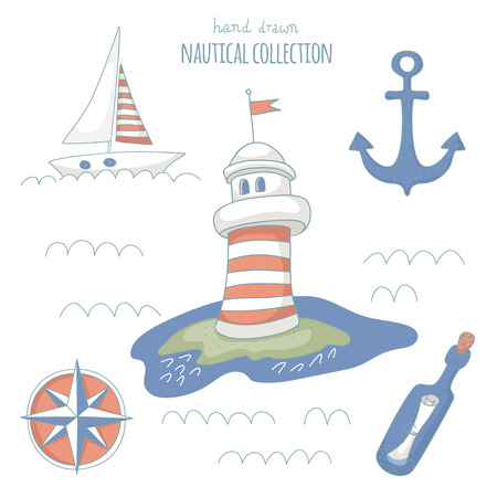 Hand drawn nautical set.  No transparency. No gradients. Vector