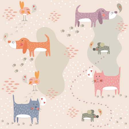 Funny seamless pattern with cute animals. EPS 10. No transparency. No gradients. Vector