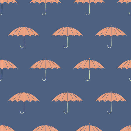 Seamless pattern with umbrellas.  No transparency. No gradients. Vector