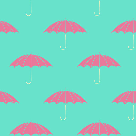 Seamless pattern with pink umbrellas. EPS 10. No transparency. No gradients. Vector