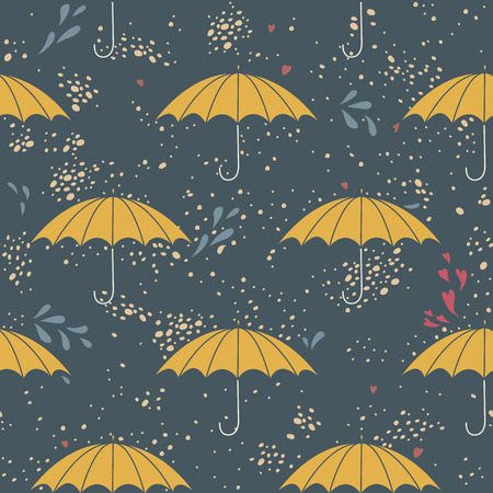 Seamless pattern with umbrellas and the rain.  No transparency. No gradients. Vector