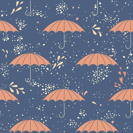 Seamless pattern with umbrellas and the rain.No transparency. No gradients. Vector
