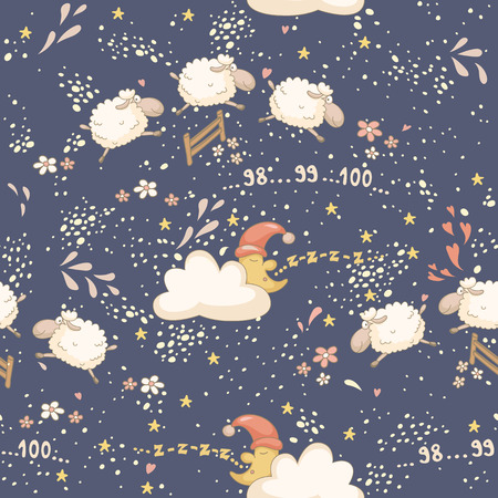 Seamless bedtime pattern with a cute sheep and the sleepy moon. No transparency. No gradients. Vector