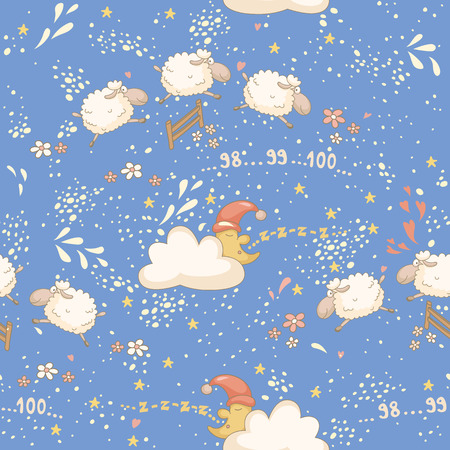 Seamless bedtime pattern with a cute sheep and the sleepy moon. No transparency. No gradients.