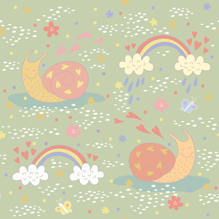 Seamless pattern with a very sweet snail. No transparency. No gradients. Vector