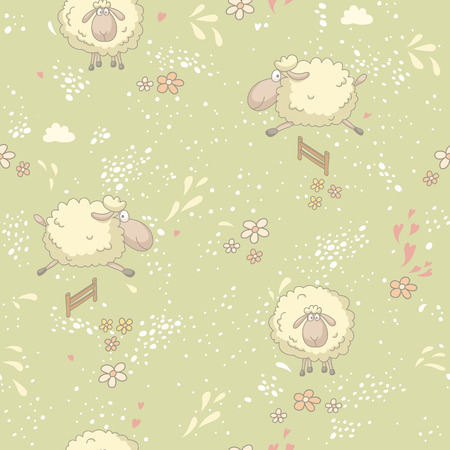 Seamless pattern with cute sheep in field. No trasparency. No gradients.