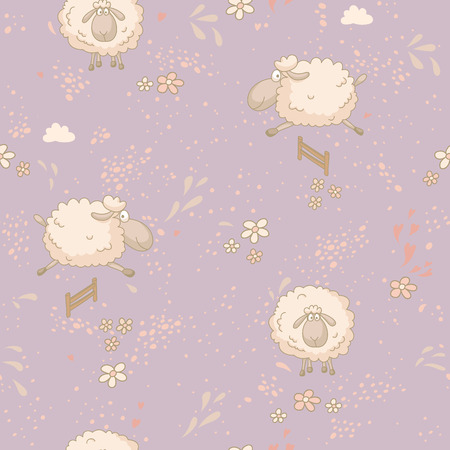 Seamless pattern with cute sheep in field. No trasparency. No gradients. Vector