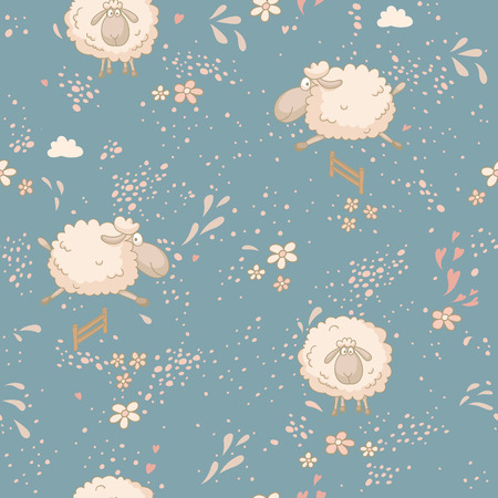 cartoon cloud: Seamless pattern with cute sheep in field. No trasparency. No gradients.