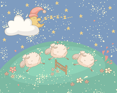 Bedtime colorful illustration with the snoozing moon and sheep. No transparency. No gradients. 向量圖像