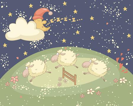 luna caricatura: Bedtime colorida ilustraci�n con la luna dormitando y ovejas. No hay transparencia. No degradados.