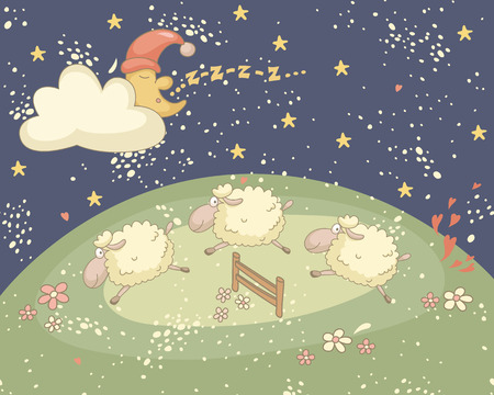 Bedtime colorful illustration with the snoozing moon and sheep.  No transparency. No gradients.