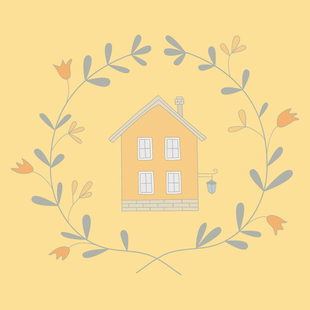 Illustration of a sweet house in a wreath.  No transparency. Np gradients. Vector
