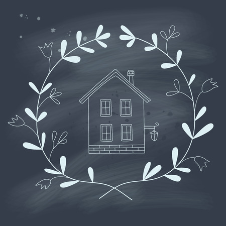 Sweet home illustration on a blackboard. No gradients. Transparency. Vector