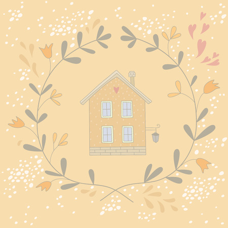 np: Illustration of a sweet house in a wreath.  No transparency. Np gradients.